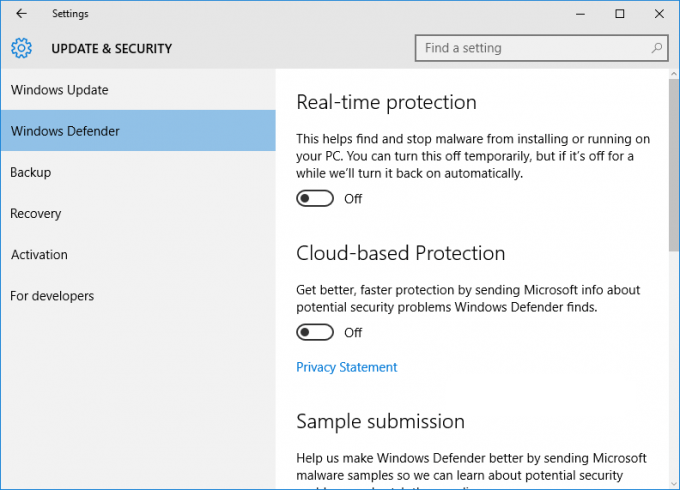 Tắt, bật Windows Defender trên Windows 8,10